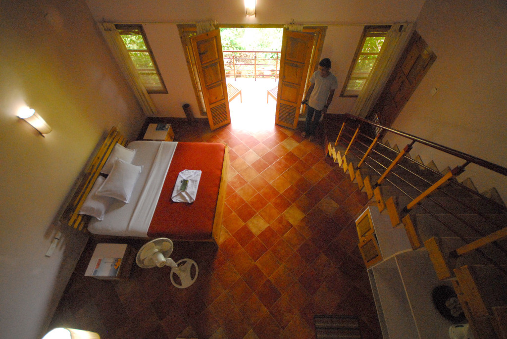 A view of the roomy accommodation at Pranavam